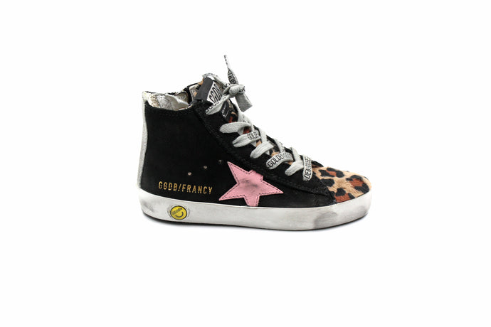 Golden Goose Leopard and Pink Star Girls Sneaker