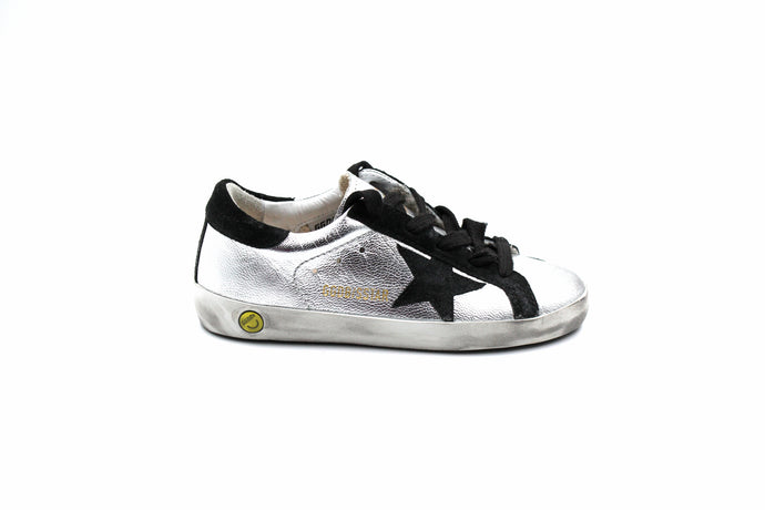 Golden Goose Silver and Black Sneaker