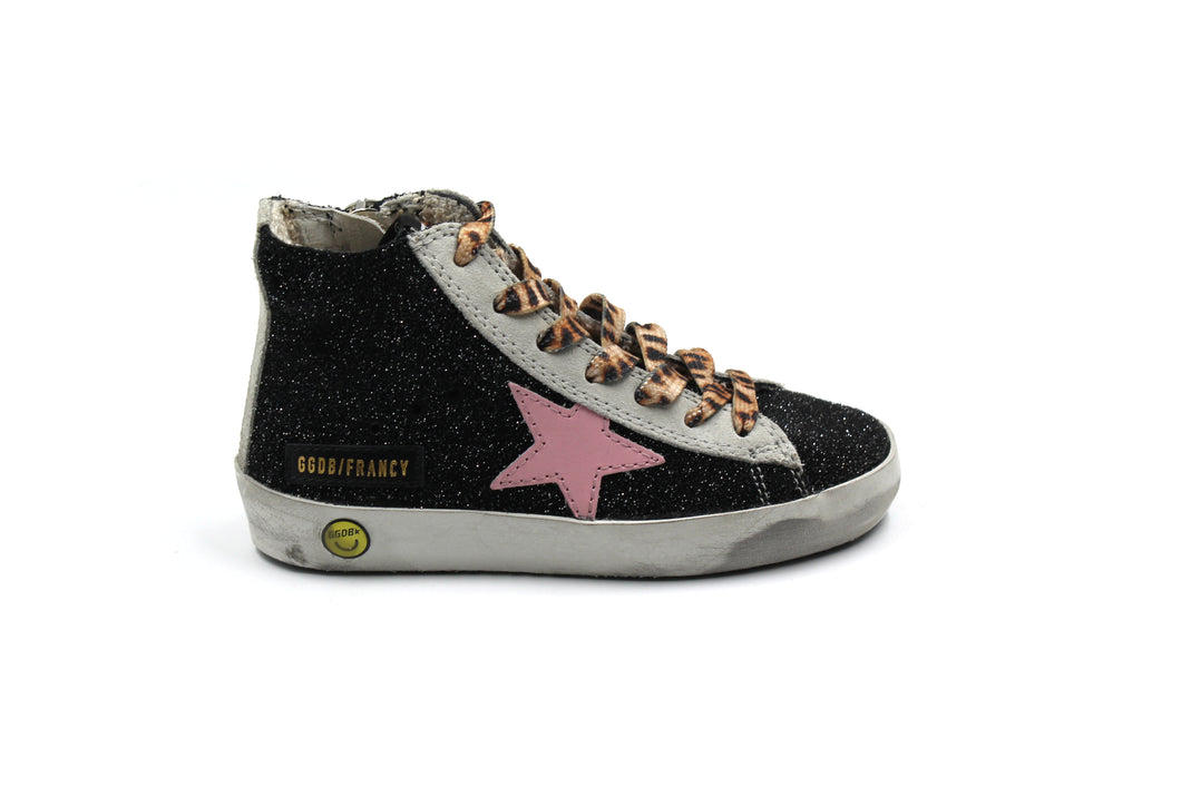 Golden Goose Black and Pink High Top Sneaker