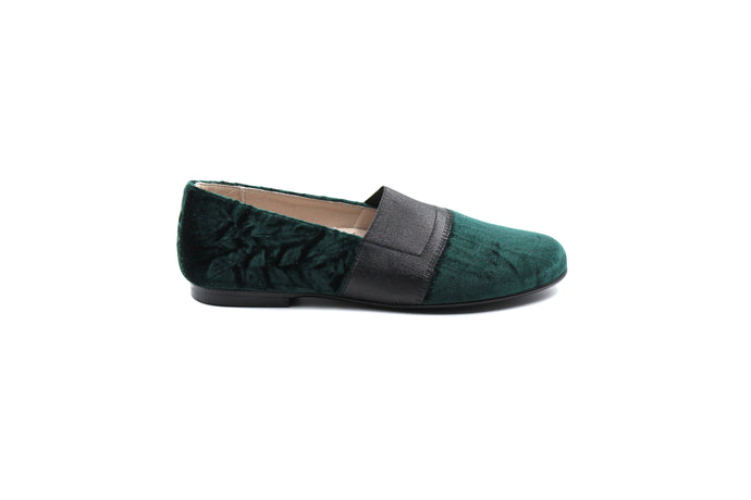 Hoo Green Velvet Elastic Smoking Children's Girls Shoes