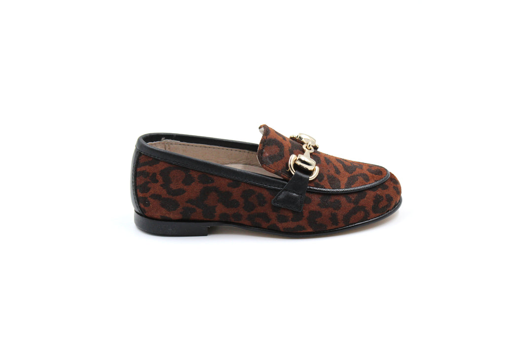 Hoo Leopard Girls Loafer Dress Shoes