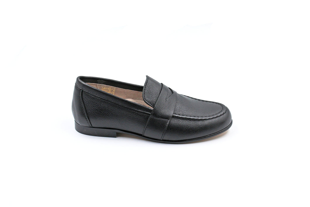 Hoo Black Leather Penny Loafer Dress Shoe