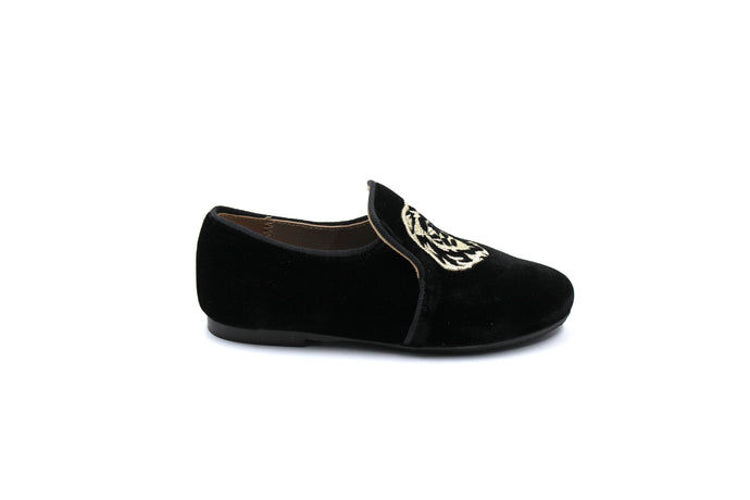 Papanatas Black Velvet Embroidered Smoking Shoe