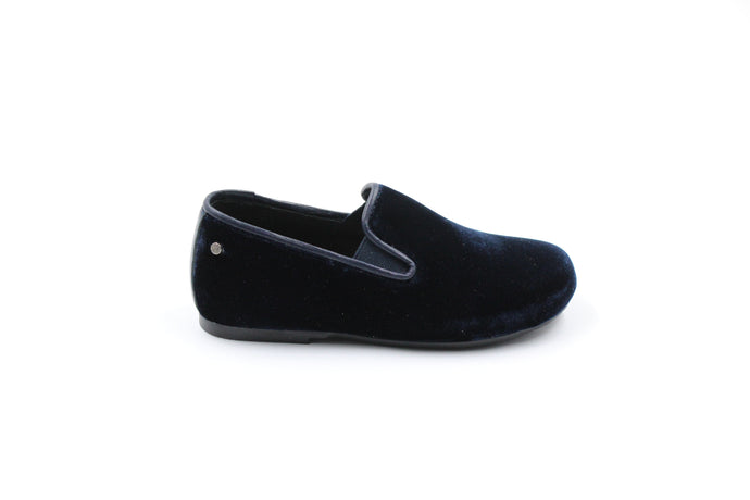 Manuela De Juan Navy Velvet Smoking Shoe