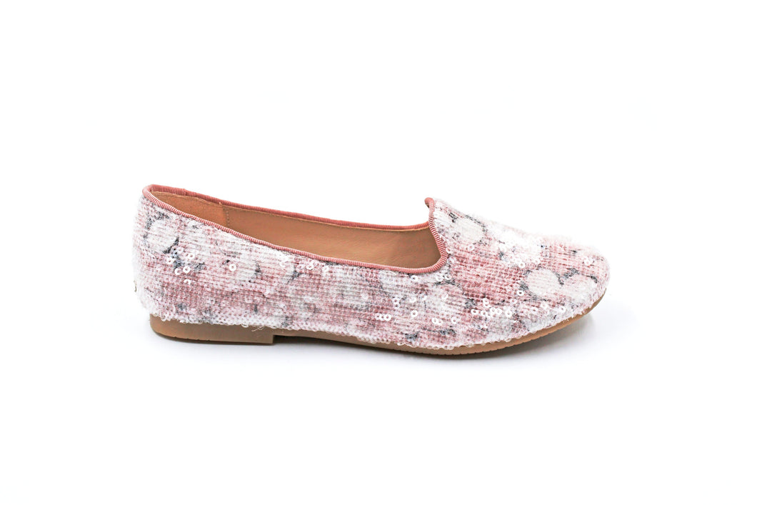Manuela De Juan Pink Sequined Smoking Flat