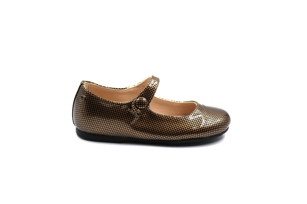 Manuela De Juan Black And Gold Patent Mary Jane Girls Dress shoe Sale