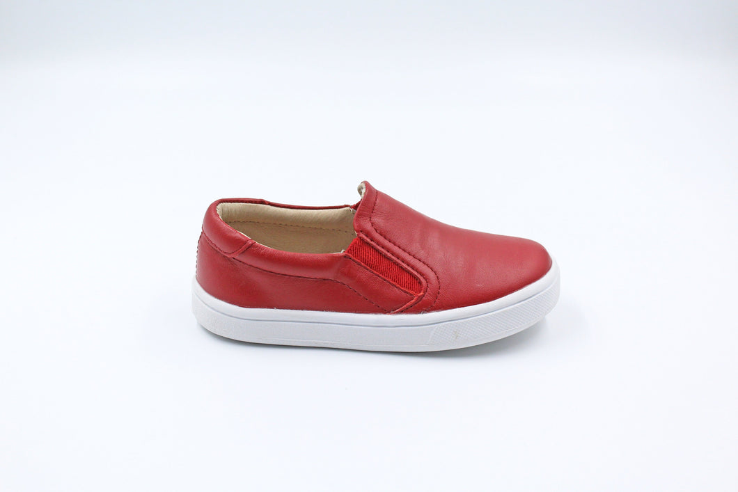 Old Soles Red Leather Slip On Sneaker