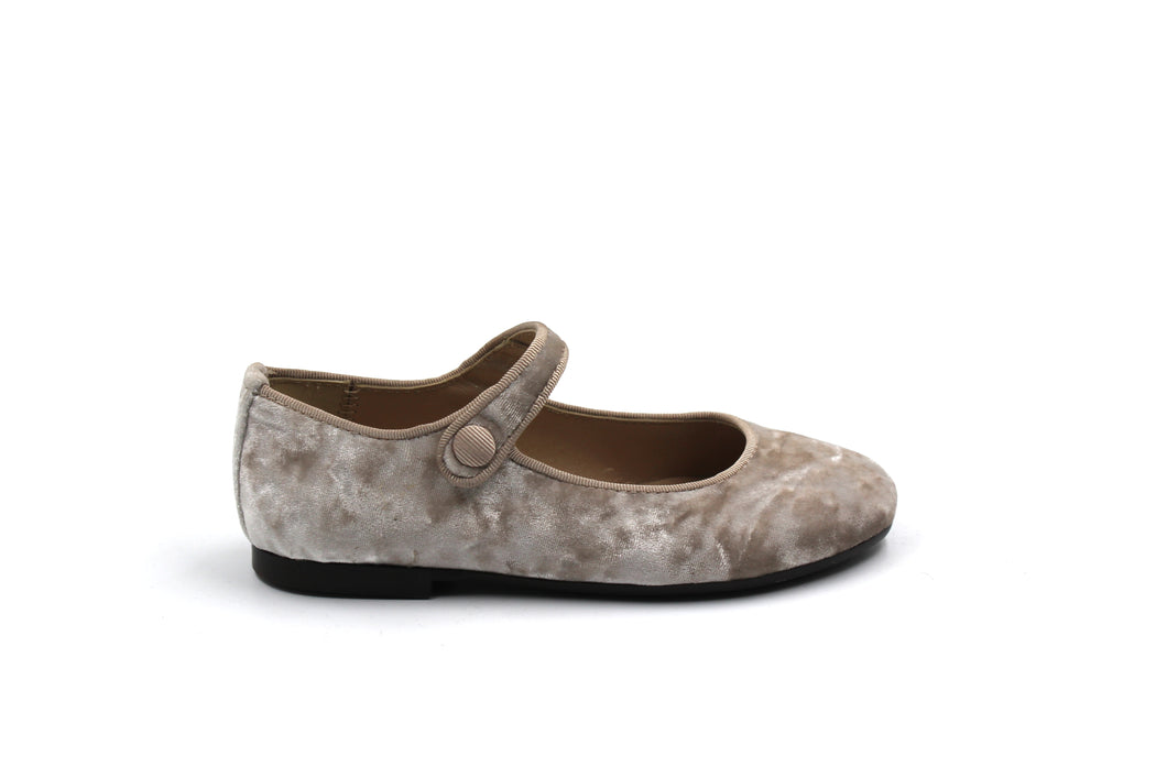 Papanatas Taupe Crushed Velvet Mary Jane