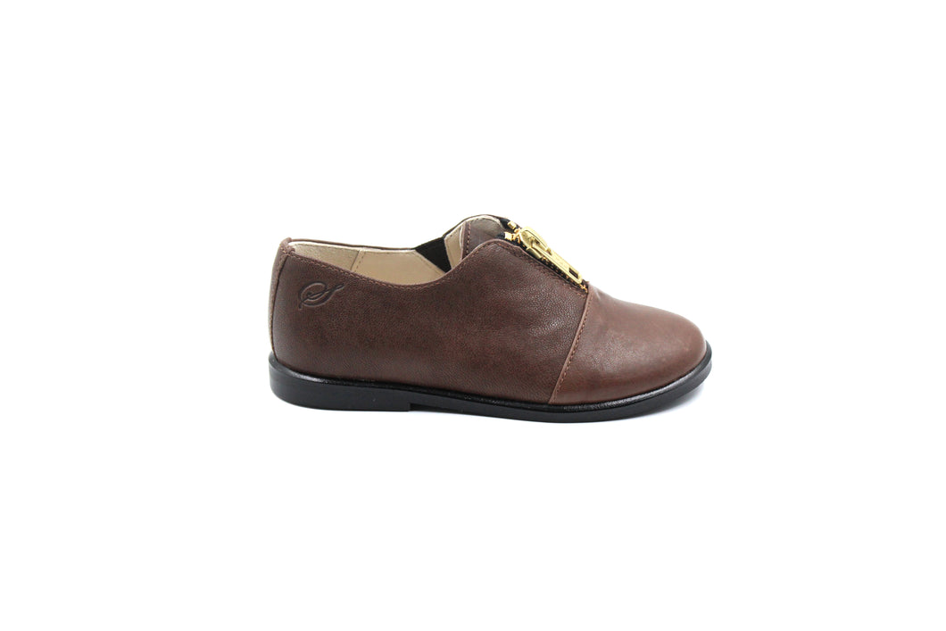Sonatina Brown Leather Zipper Dress Shoe