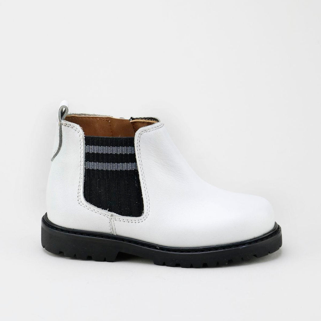 Papanatas White Leather Bootie