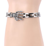 J store Popular skeleton hand Bracelet skull Bracelet Punk metal Men boy friend Gift