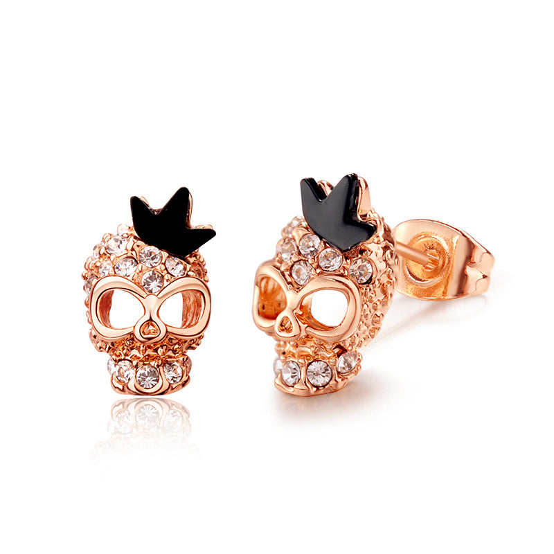 Crystal Skull Crown Earrings