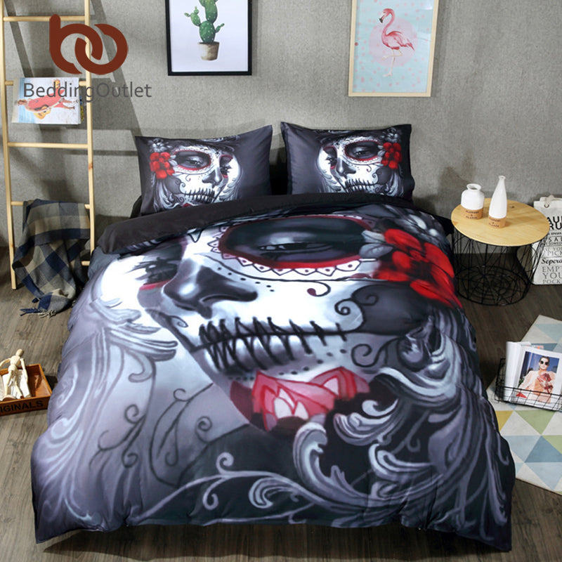 3D Skull Woman Bedding Set