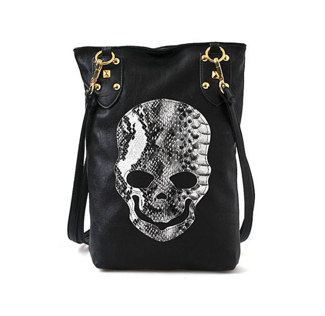 Hot 2018 New Punk Black Skull Face Designer PU leather Handbags Women's Shoulder Bag Ladies Tote CrossBody Shopping Bag QF086