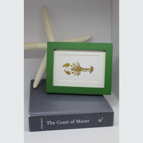 MINI FRAMED GOLD LOBSTER WATERCOLOR
