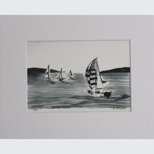 BLACK AND WHITE SAILBOATS - PRINT