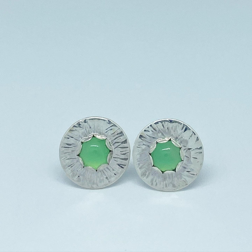 Stonington - Scalloped bezel Chrysoprase Earrings