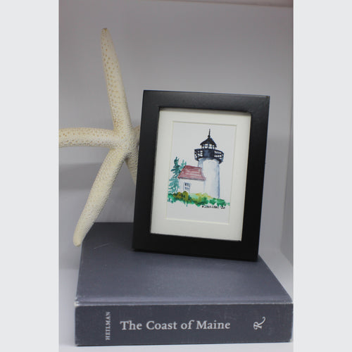 MINI FRAMED LIGHTHOUSE WATERCOLOR