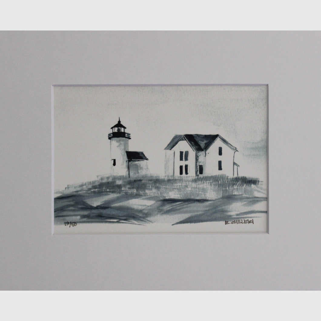 BLACK AND WHITE CURTIS ISLAND LIGHTHOUSE - PRINT