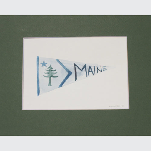 MAINE PENNANT WATERCOLOR - PINE TREE