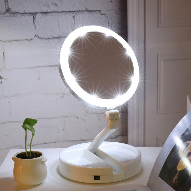 LED Lighted Folding Vanity and Travel Mirror