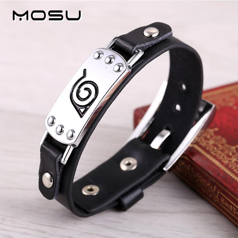 Naruto Silver Alloy Bracelet Leather Punk Bangle