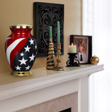 Modern American Flag Red White and Blue Large Adult Urn for Human Ashes