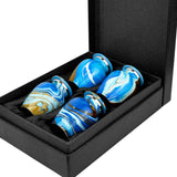 Ocean Tides Beautiful Small Keepsake Urn for Human Ashes - Set of 4 - with Case