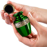 Serenity Green Beautiful Small Keepsake Urn for Human Ashes - Qnty 1 - w Case