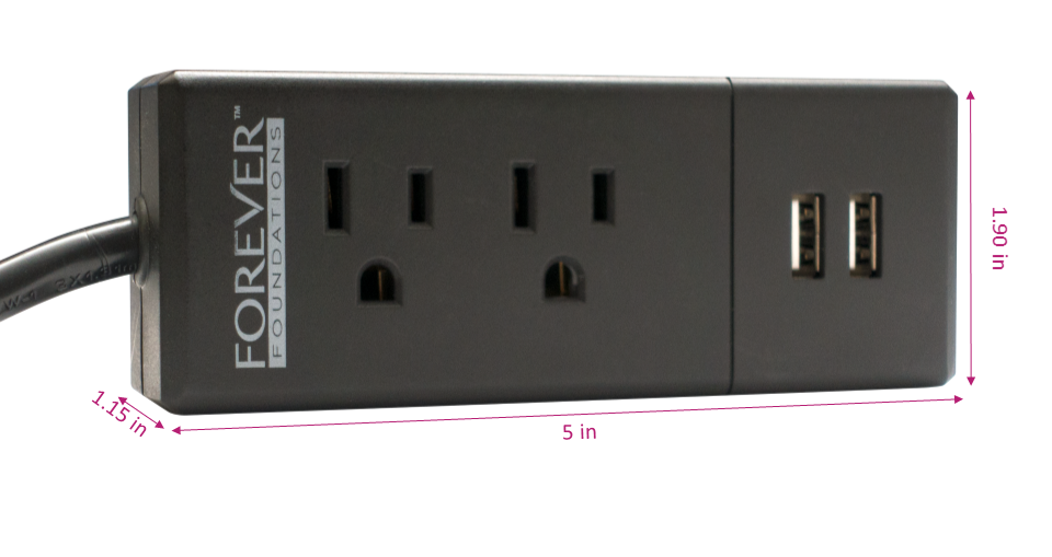 Image of a BedPower and includes dimensions for the bed power outlet