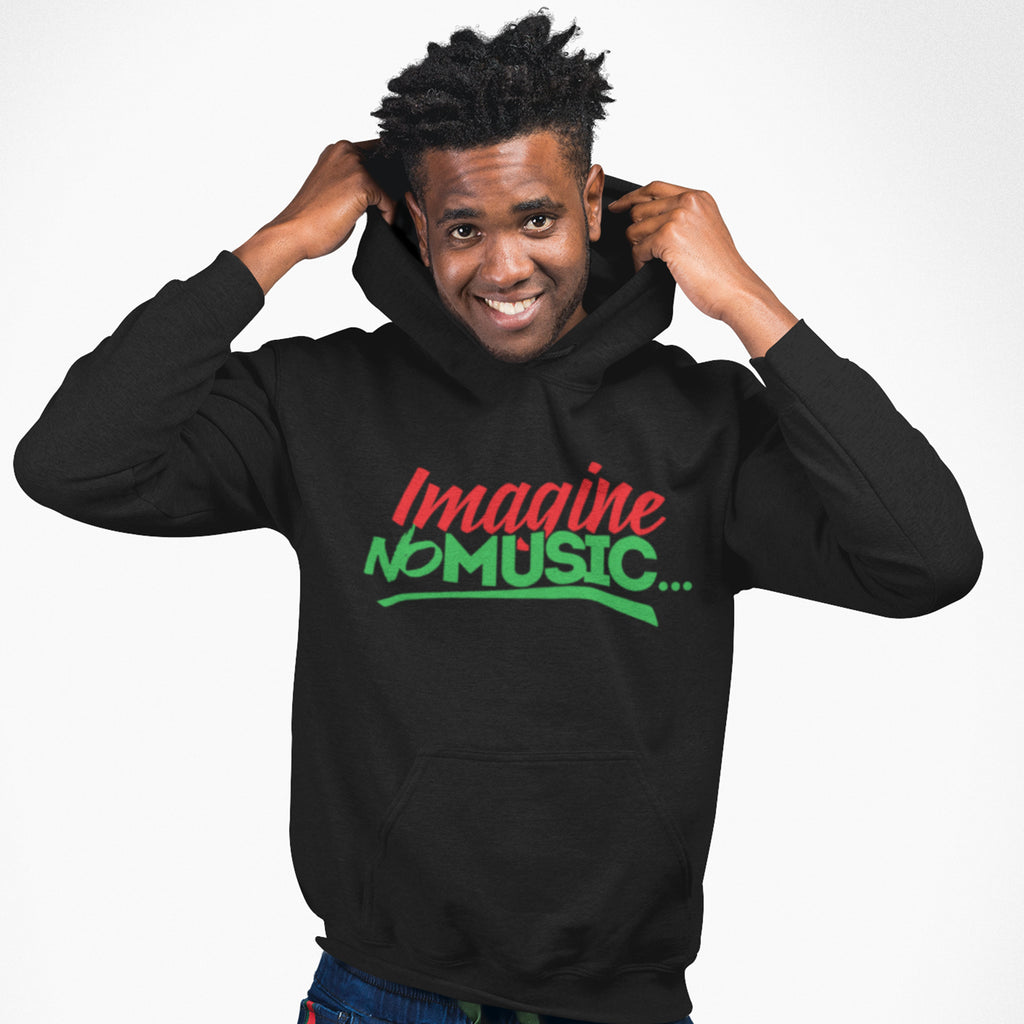 Imagine No Music Hoodie Red Black and Green