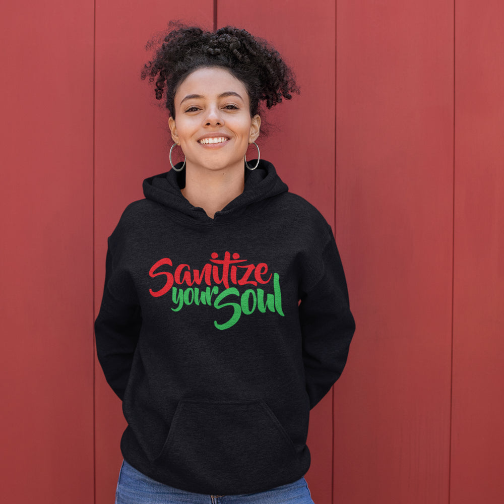 Adult Sanitize Your Soul Hoodie Red Black and Green