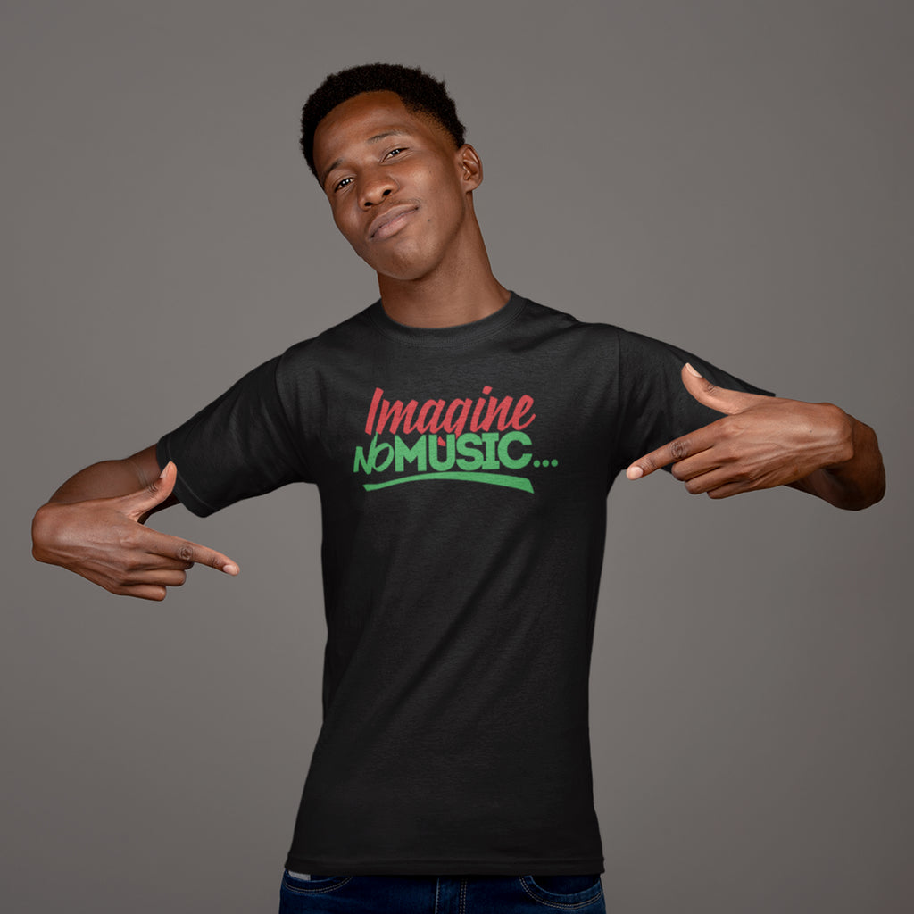 Men's Imagine No Music T-Shirt Red Black and Green