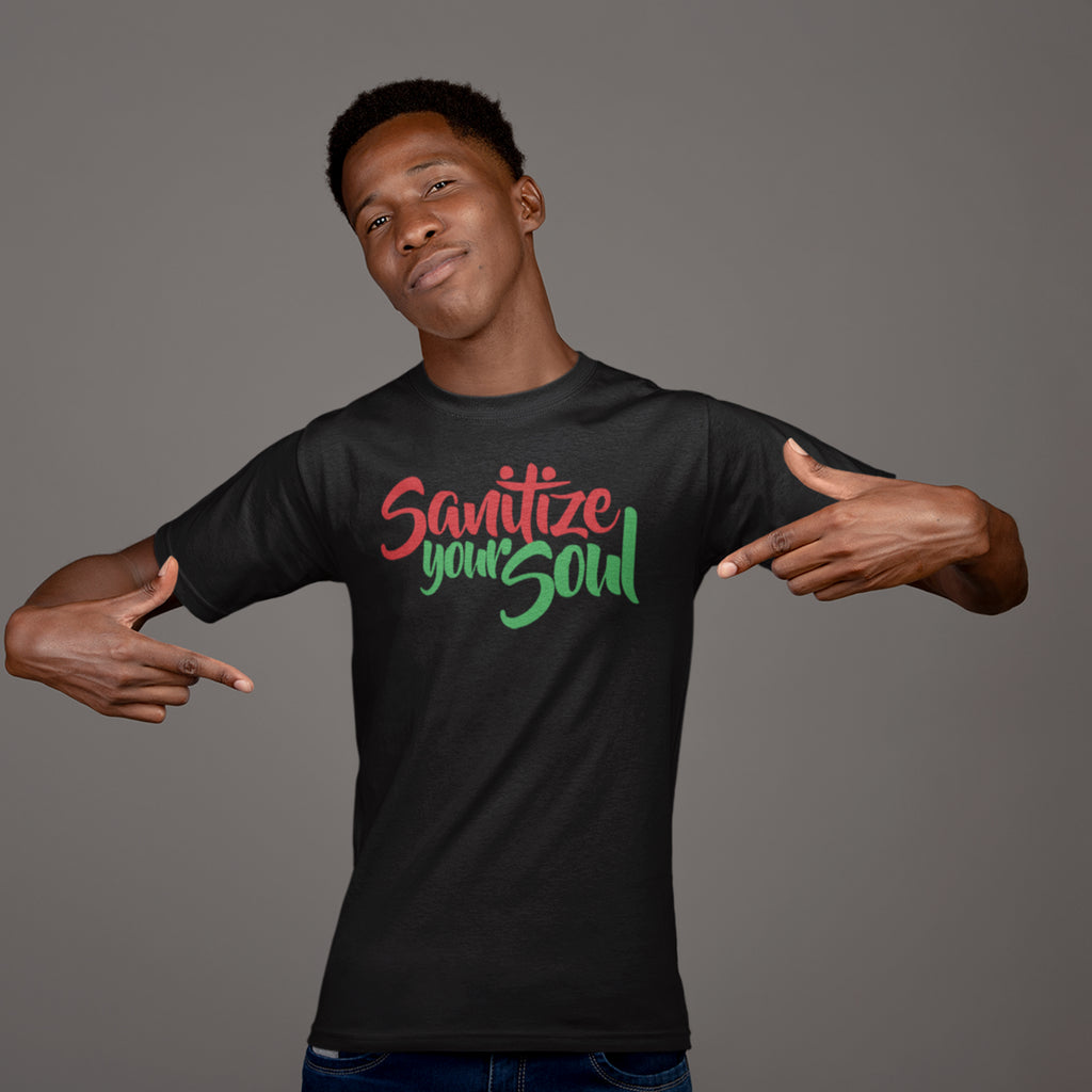 Men's Sanitize Your Soul T-Shirt Red Black and Green