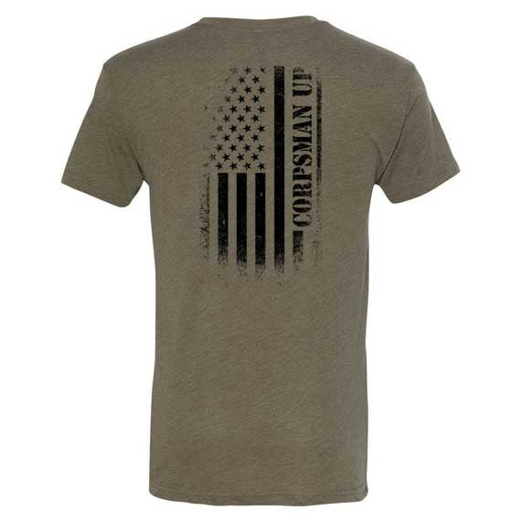 Corpsman Up Distressed American Flag Shirt