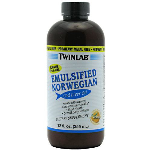 TwinLab Emulsified Norwegian Cod Liver Oil - Orange - 12 oz - 027434012119