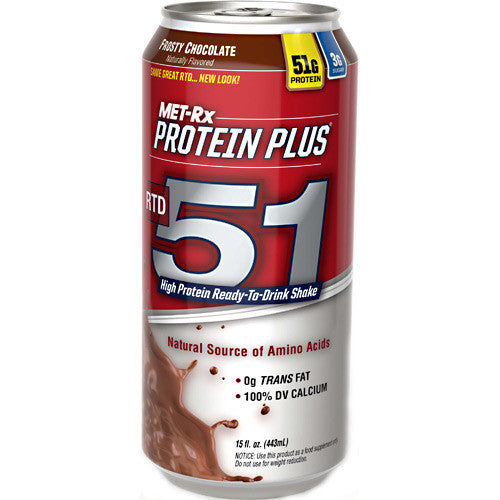 MET-RX Protein Plus RTD 51 - Frosty Chocolate - 12 Bottles - 00786560140577