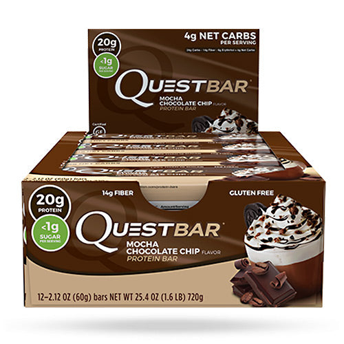 Quest Nutrition Quest Protein Bar Shipper - Mocha Chocolate Chip - 12 ea - 10888849005366