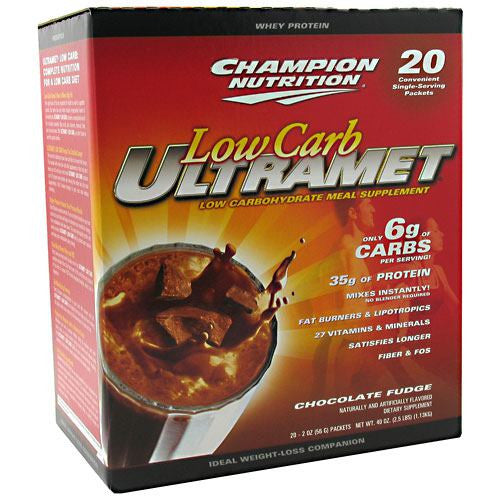 Champion Nutrition Low Carb Ultramet - Chocolate Fudge - 20 Packets - 027692131805