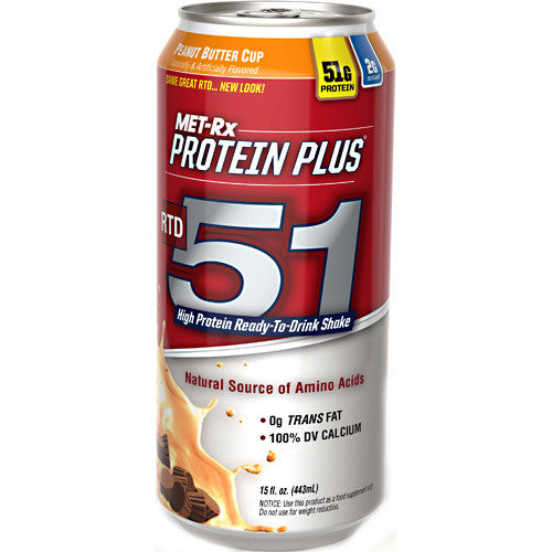MET-RX Protein Plus RTD 51 - Peanut Butter Cup - 12 Bottles - 10786560169964