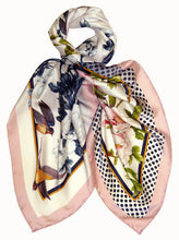 Silk Square Scarf Navy Blue/White 90cmx90cm
