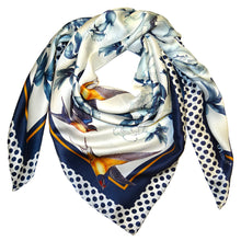Silk Square Scarf White/Navy Blue 90cmx90cm