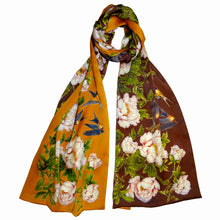 Long silk double scarf  Brown/Orange 33cmx180cm