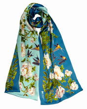 Long silk double scarf  Aquamarine/Blue 33cmx180cm