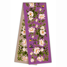 Long silk double scarf  Lilac/Dusty Pink 33cmx180cm