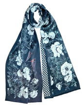 Long silk double scarf  Navy Blue 33cmx180cm