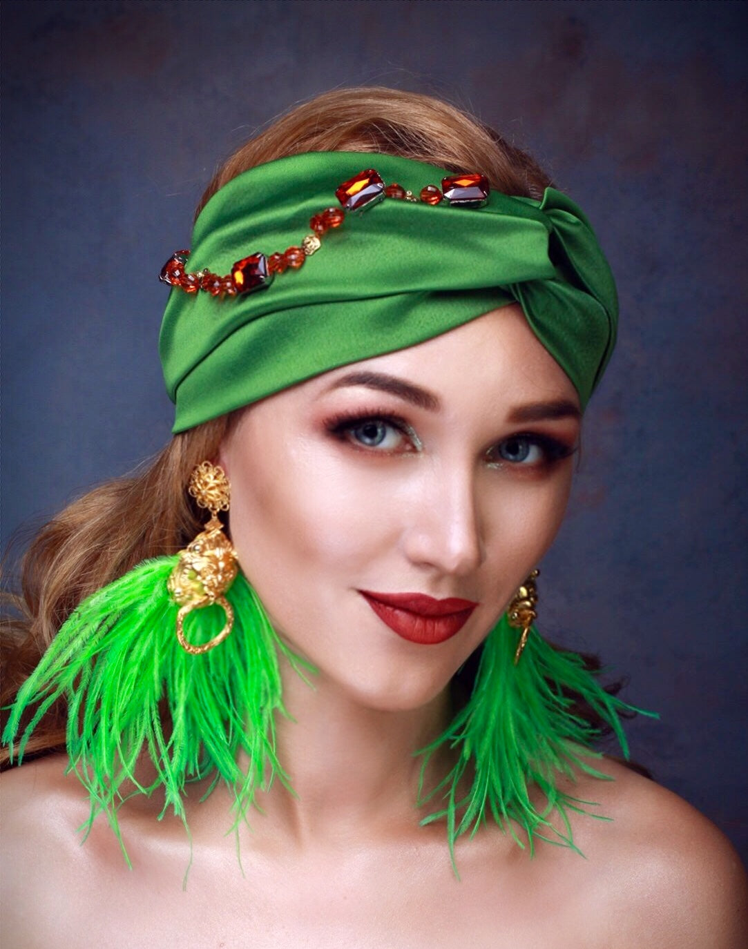 EVONNE Green Turban Hat 8bb40ec0ec8