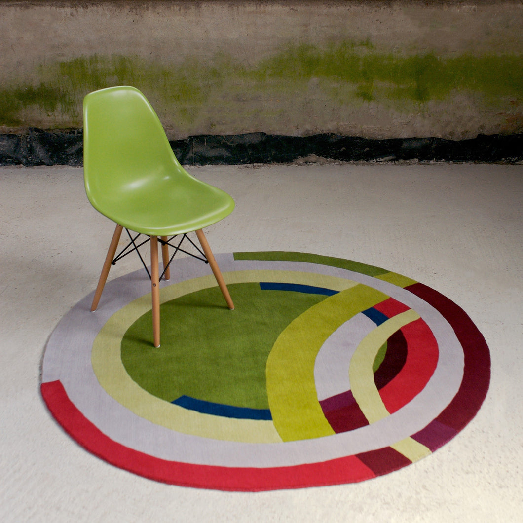 Green Frank Circle Hand Knotted Pile Rug Ptolemy Mann Rugs