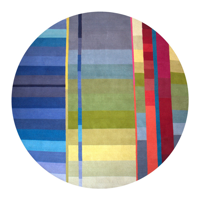 Blue Vortex Circle Hand Knotted Pile Rug by Ptolemy Mann