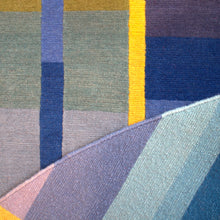 Blue Vortex Circle Hand Knotted Pile Rug Detail by Ptolemy Mann